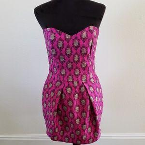 B2G1 Rubber Ducky Purple/Green Strapless Dress